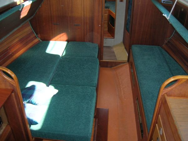 a cabin with a double-berth